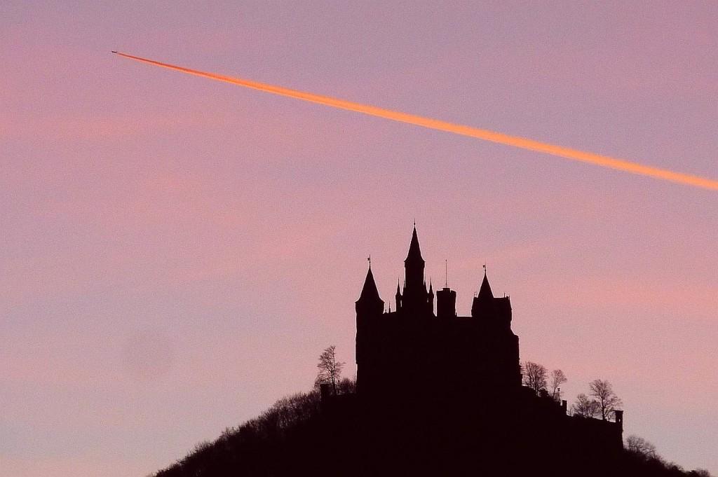 plane over castle